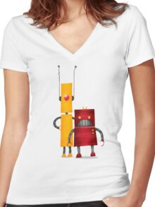 Robot2 Women's Fitted V-Neck T-Shirt