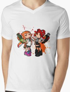Inking Girl v Octoling Girl Splat Mens V-Neck T-Shirt