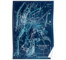 Civil War Maps 1753 The battlefield of Gettysburg July 1st 2nd and 3rd 1863 Inverted Poster