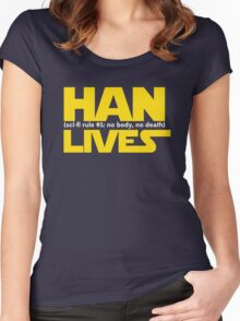 Han Lives - Type Only Women's Fitted Scoop T-Shirt