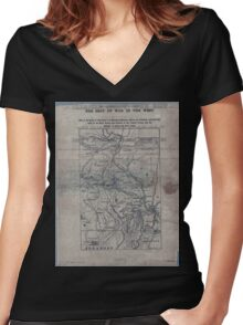 Civil War Maps 1906 War maps and diagrams 02 Women's Fitted V-Neck T-Shirt