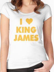 I LOVE KING JAMES Lebron Cleveland Cavaliers NBA Playoffs Women's Fitted Scoop T-Shirt