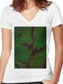 Marbled Spineless Acacia Leaves  Women's Fitted V-Neck T-Shirt