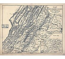 Civil War Maps 0969 Map of the Shenandoah Valley to illustrate the Valley Campaign of ''Stonewall'' Jackson 1862 Photographic Print