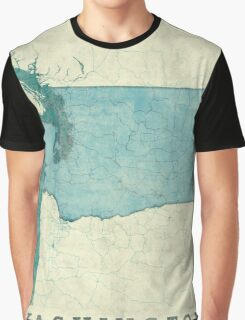 Washington State Map Blue Vintage Graphic T-Shirt