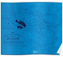 Civil War Maps 1962 Map exhibiting the approaches to the city of Richmond prepared for Maj Gen Geo B McClellan USA Inverted Poster