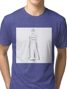 Girl posing in fashionable outfit  Tri-blend T-Shirt