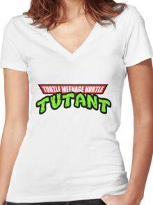 Turtle Meenage Nurtle Tutant Women's Fitted V-Neck T-Shirt