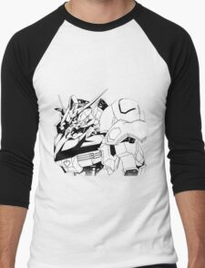 Gundam Barbatos Black and White Men's Baseball ¾ T-Shirt