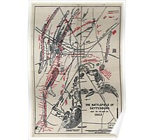 Civil War Maps 1752 The battlefield of Gettysburg July 1st 2nd and 3rd 1863 Poster