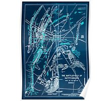Civil War Maps 1752 The battlefield of Gettysburg July 1st 2nd and 3rd 1863 Inverted Poster