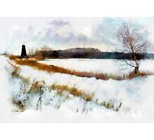 Windmill In The Snow'... Photographic Print