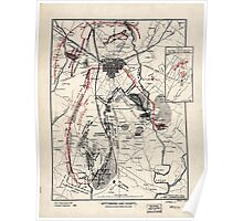 Civil War Maps 0444 Gettysburg and vicinity showing the lines of battle July 1863 Poster