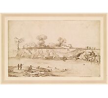 Giovanni Francesco Barbieri, called Il Guercino,  Landscape. River with Bathers Photographic Print