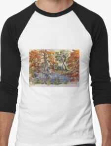The Orto Botanico from the Lucca wall 2015 Men's Baseball ¾ T-Shirt