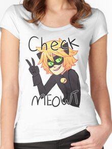 Check Meowt! Cat Noir Women's Fitted Scoop T-Shirt