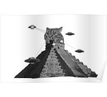 The awesome cat pyramid fighting the atrocious spaceships Poster
