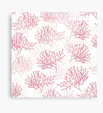 Red and pink coral contours seamless vector pattern Canvas Print