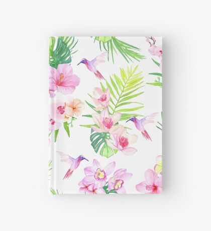 Hummingbirds and tropical flowers seamless vector pattern Hardcover Journal