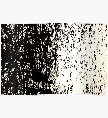 Modern Abstract Jackson Pollock Painting Original Art Titled: Black & White Poster