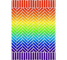 Rainbow Brick Wall Pattern with Edging - Small Photographic Print