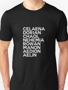 Throne of Glass Group Names Black Unisex T-Shirt