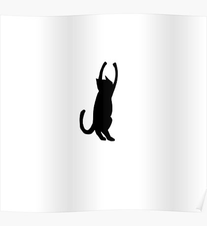 Black Cat Playing Poster