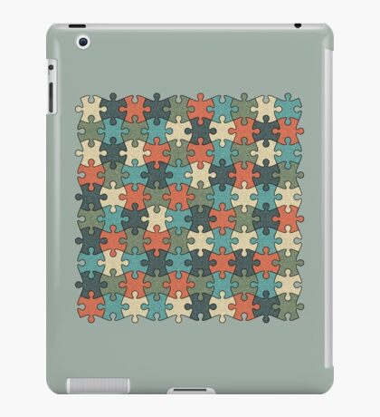 Jigsaw Puzzle Pattern in Vintage Color Palette iPad Case/Skin