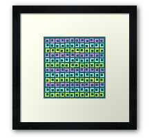 Crazy jumping retro vintage squares on cyan  Framed Print