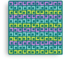 Crazy jumping retro vintage squares on cyan  Canvas Print