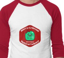 Merry Critmas & Happy Natural 20! Gamer Christmas - Gelatinous Cube Men's Baseball ¾ T-Shirt