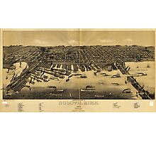 Perspective Map of Duluth Minnesota (1887) Photographic Print
