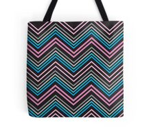 Turquoise Blue Pink Gray and Black Chevron Abstract Pattern  Tote Bag
