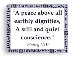 A Peace Above All - Shakespeare Canvas Print