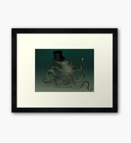 Octopus in a top hat Framed Print