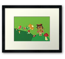 Cute Ethnic Ladybug Flower Fairy Framed Print