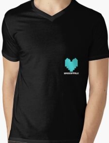 Sans Determination Heart Mens V-Neck T-Shirt