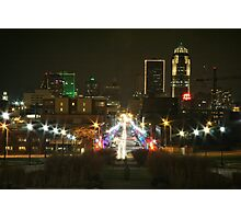 Des Moines at Night Photographic Print