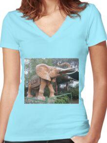 Elephant Sculpture, Nimmitabel, Australia 2011 Women's Fitted V-Neck T-Shirt