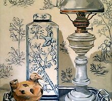 Still life with ginger jar and lamp, on toile. 2012Ⓒ Oil on canvas by Elizabeth Moore Golding