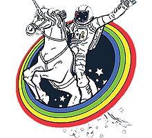 Astronaut riding a unicorn by Kagan
