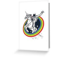 Astronaut riding a unicorn Greeting Card