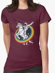 Astronaut riding a unicorn Womens Fitted T-Shirt
