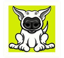 English Bull Terrier Cartoon Big Nose Art Print