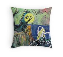 Mermaid and two dragons, painting. Throw Pillow