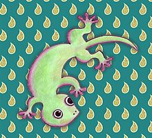 Gecko Print Teal by Paul Webster