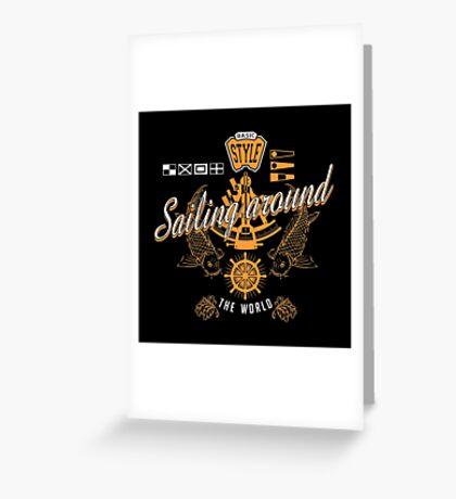 Sailing Around Orange White Graphic Nautical Greeting Card