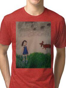 oil pastel drawing Tri-blend T-Shirt