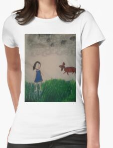 oil pastel drawing Womens Fitted T-Shirt