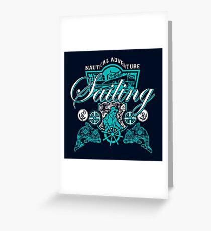 Sailing Adventure Blue Graphic Nautical Greeting Card